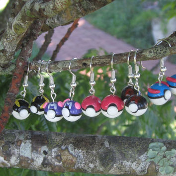 Assorted Pokeball Earrings! Classic Pokeball, Masterball, Great Ball, Ultra Ball and Rocket Ball!