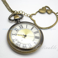 Hello Kitty pocket watch necklace,antique brass Hello Kitty pendant NWHK01
