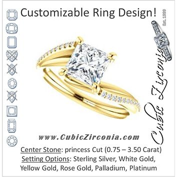 Cubic Zirconia Engagement Ring- The Teena (Customizable Princess Cut with 3-sided Twisting Pavé Split-Band)