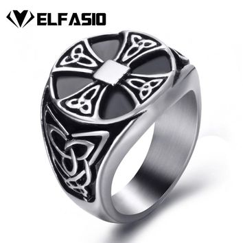 Men Stainless Steel Rings Celtic Knot Solar Cross Silver Black Vintage Jewelry