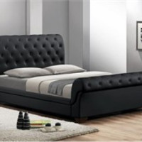 Baxton Studio CF8231-QUEEN-BLACK Leighlin Black Modern Sleigh Bed /w Upholstered Headboard - Queen Size