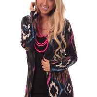 Navy Multi Color Aztec Cardigan with Hood
