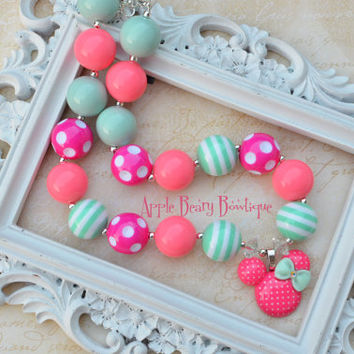 Minnie Mouse Mint Coral pink Pearl Disney Chunky Bubblegum Necklace