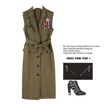 NEW street wear solid color single breasted long wide-waist form turn-down collar suspension emblem female trench OFB-061