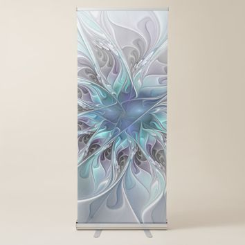 Flourish Abstract Modern Fractal Flower With Blue Retractable Banner