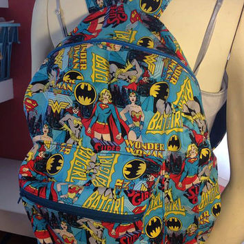 Batgirl, Supergirl, and, Wonder Woman Backpack, also available in other fabric patterns