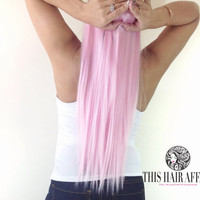 "22"" Light Pastel Pink Clip In Hair Extension"