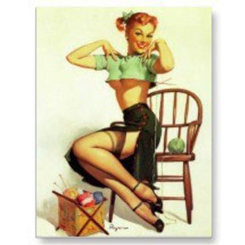 Vintage retro Gil Elvgren Knitting Pin Up Girl Postcard
