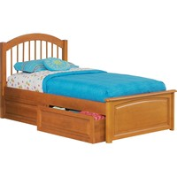 Windsor Twin Bed Raised Panel Footboard Raised Panel Under Bed Drawers Caramel Latte Finish