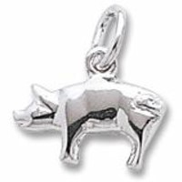 Pig Charm In Sterling Silver
