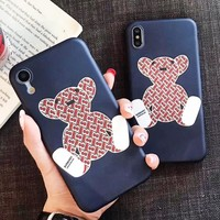 Burberry Fashion New More Letter Bear Print Women Men Phone Case Protective Cover