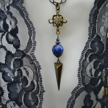 Lapis lazuli necklace, dagger, spike,dark blue, navy, gemstone, gothic,triangle necklace