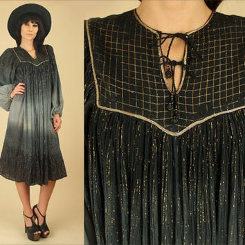 ViNtAgE 70's Indian Gauze Cotton Black Gold Tie Dye Dress // Poet Slv. Festival Dress // HiPPiE Bohemian BoHo M