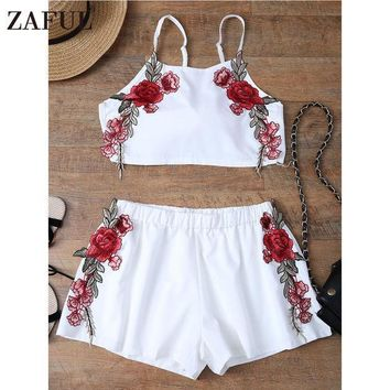 Zaful Summer Sexy Embroidered Womens Sets Two Piece 2017 White Chiffon Sleeveless Rose Applique Tie Back Cami Top With Shorts