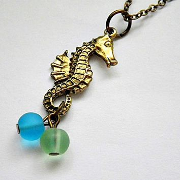 seahorse and sea glass necklace