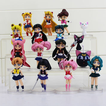 16Styles Sailor Moon Figures Tsukino Usagi Sailor Mars Mercury Jupiter Venus Saturn Figure Toys PVC Doll Free Shipping