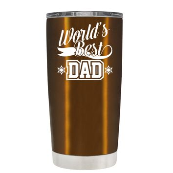 Worlds Best Dad on Translucent Copper 20 oz Tumbler Cup