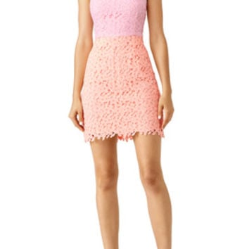 Slate & Willow Pink Lace Colorblock Dress