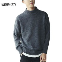 NIBESSER Brand Solid Casual Sweater Men Half-Turtleneck Collar Long Sleeve Mens Pullover Sweaters Male Knitted Sweaters M-XXXL