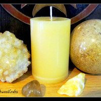 LIMITED EDITION - BEE Happy - Pure Beeswax Pillar Candle - Prosperity Solar Magick - Pagan Wicca - Wiccan Witch - White Witchcraft
