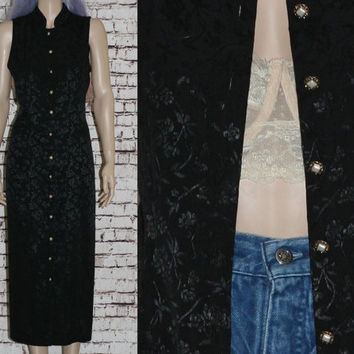 90s Maxi Dress Long Duster Vest  Black Floral Boho Festival hipster grunge witchy nu goth gypsy  S M Jacket Kimono button up tie waist