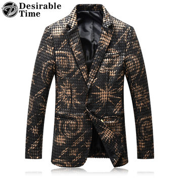 Men Leather Patchwork Blazers Fashion Stage Costumes for Singers Men Slim Fit Black Blazer Jackets Designs