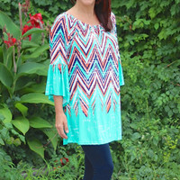 Mint & Orange Chevron Print Tunic Top with Bell Sleeves
