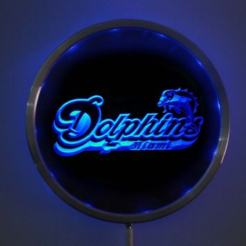 rs-b0070 Miami Dolphins LED Neon Round Signs 25cm/ 10 Inch - Bar Sign with RGB Multi-Color Remote Wireless Control Function