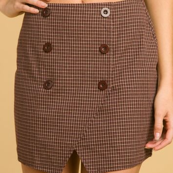 High Waisted Asymmetrical Skirt With Button Detail (8IS0444RB)