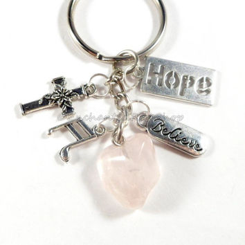 Rose Quartz Crystal Key Chain, Hope Charm Keychain, Cross Keychain, Crystal Quartz Key Chain, Gemstone Keychain, Gifts for Friend Under 15