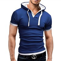 New Arrival Summer mens Hooded t shirt novelty fashion cap t shirts men casual crop short sleeve t-shirt with hood tops