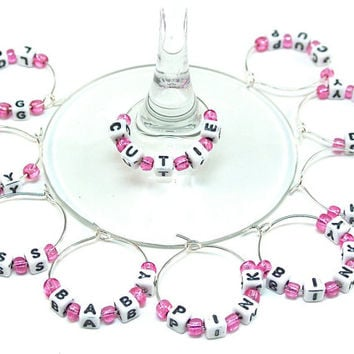 Baby Girl Wine Charms- 10 Wine Glass Tags with Pink Beads and Blocks for Baby Shower, Gender Reveal Party, Wine Glass Accessories