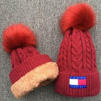 PEAPUF3 TOMMY HILFIGER Women Men Embroidery Beanies Knit Hat Warm Woolen Hat Red
