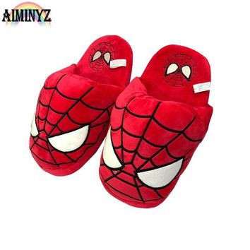 Home Avengers Slippers Soft Slippers Short Plush Chausson Fluffy Women Fur Cartoon Furry Flat Shoes Room Men Funny Bedroom Warm