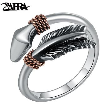 ZABRA Solid 925 Sterling Silver Vintage Retro Small Opening Cupid's Arrows Love Ring Women Men Steampunk Cool Feather Jewelry