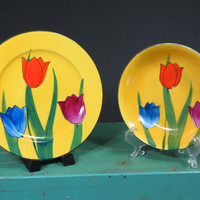Okwan China Tulips Plate & Bowl * Bright Yellow with Colorful Tulips * Hand Painted Japan * Bread and Butter Plate * Berry Bowl * Vintage