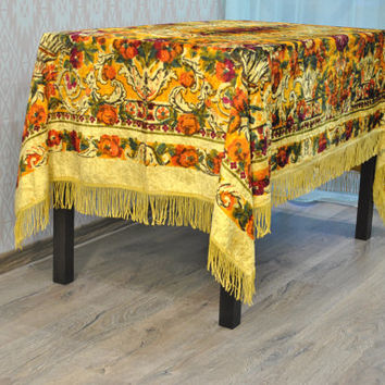 Soviet Velvet Rug Antique USSR Home Decor Bohemian Tablecloth Bedspread Plush velour fabric Plush blanket Chic bohemian For craft bags toys