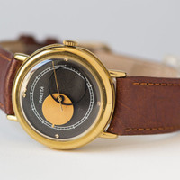 Gold plated Copernicus watch, gent's watch black gold modern men's watch, Moon watch accessory, premium leather strap new