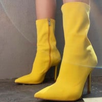 Hot style hot selling stretch fabric pointed stiletto boots
