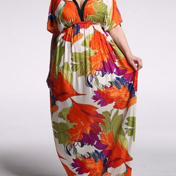 Streetstyle  Casual Designed Color Block Printed Deep V-Neck Plus Size Maxi Dress
