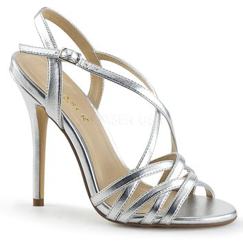 Pleaser Amuse Strappy Silver Pumps