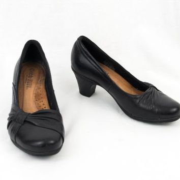 Cobb Hill Leather Shoes 7 M Black Slip On Heels by New Balance EU 37.5  Comfort