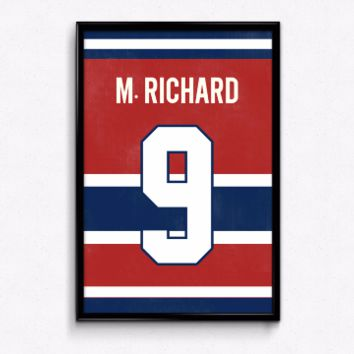Maurice Richard Number 9 Jersey