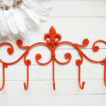 Fleur De Lis Decor / Metal Wall Hanger / Wall Hook / Jewelry Rack / Towel Rack / Coat Hook / Orange Decor / French / Autumn Decor / Fall