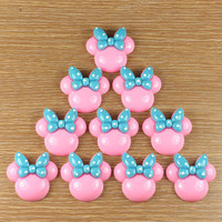 Lot 10pcs Resin Cute Minnie Mouse Blue Bow Flatback Flat Back Scrapbooking Hair Bows Center Frame Card Making Crafts DIY