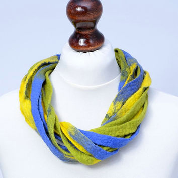 Twist, multi strand, yellow & blue, ribbon fiber necklace - twisted, multistrand, felt jewelry - wide and thick necklace [N106]