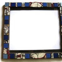 Picture Frame Mosaic Broken china Blue Red White glass tiles