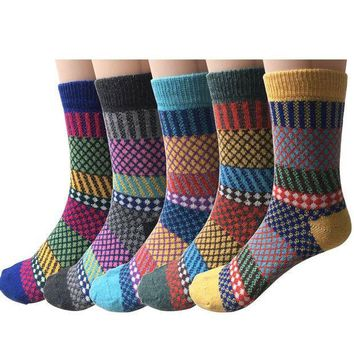 ESBON8C Pack of 5 Womens Vintage Style Thick Wool Warm Winter Crew Socks