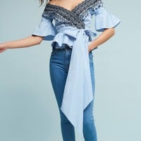 Ines Embroidered Wrap Blouse