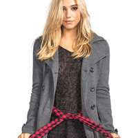 Full Tilt Double Breasted Womens Trench Coat Charcoal  In Sizes